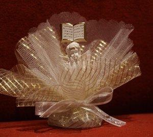 Communie bedankje 'Bijbel met Engel' (goud)