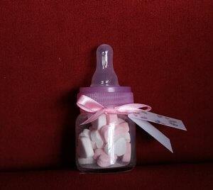 Geboortebedankje 'Zuigflesje' (roze)