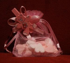 Geboortebedankje Organza zakje 'Bedankzakje Beertje' (roze)