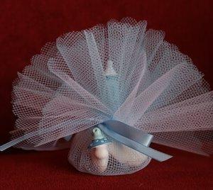 Geboortebedankje 'Mini Stenen Zuigflesje Papflesje' (Blauw)