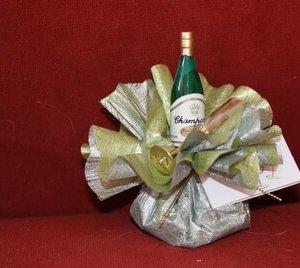 Trouwbedankje 'Champagne' (zilver met groen)