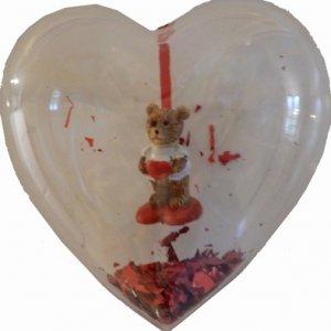 Kunststof Hart 'Beertje' met confetti