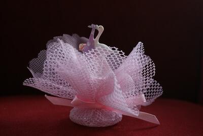 Geboortebedankje 'Ooievaar met baby' (roze)