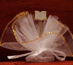 Communie bedankje 'Bijbel' (wit met goud)