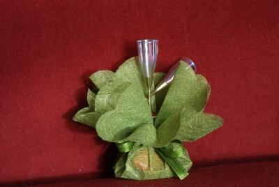 Bruiloft bedankje 'Chamapgneglazen' (groen)