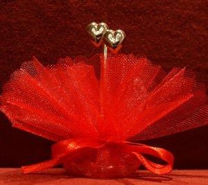 Bruiloft bedankje 'Hartjes' (rood)