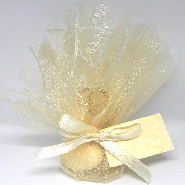 Bruiloft Bedankje 'Twee ringen' (creme)