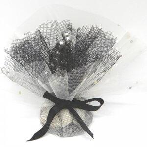 Bruiloft bedankje 'Metallic Koppel' (wit met zwart)