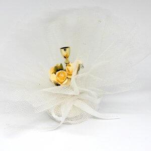Communie Bedankje 'Kelk met rozen' (wit)