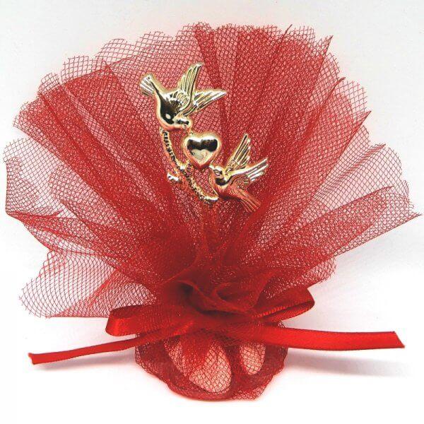 Hindoestaans Bruilofts Bedankje 'Gouden Duiven met Hart' (rood)