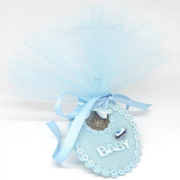 Islamitisch Geboortebedankje 'Slabbetje' (blauw)