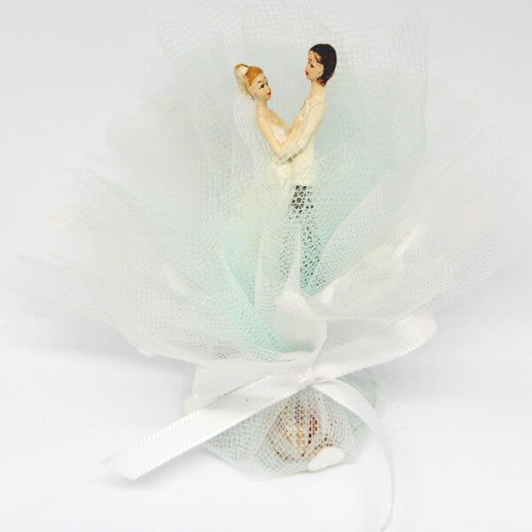 Bruiloft Bedankje 'Bruidspaar' (wit met mint)