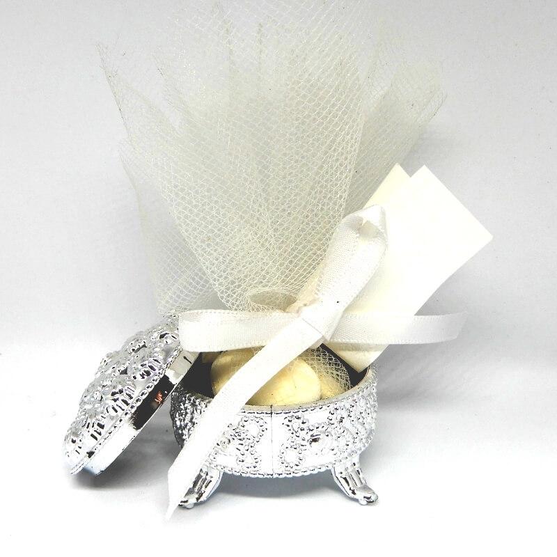 Islamitisch Bruiloft Bedankje 'Rond Kistje' (zilver)