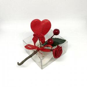 Bruiloft Bedankje 'Doosje met roosjes en hartje' (rood)