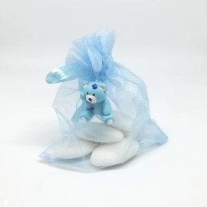 Geboortebedankje 'Organza zakje Beertje' (blauw)
