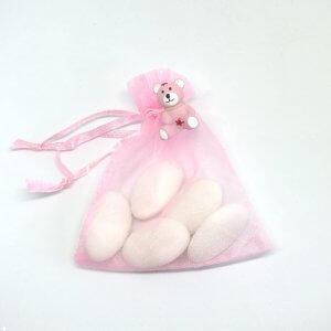 Geboortebedankje 'Organza zakje Beertje' (roze)