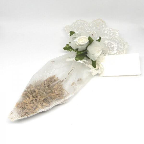 Islamitisch Bruiloft Geboorte Bedankje 'Lavendelzakje Geborduurde Roosjes' (wit)