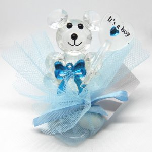 Islamitisch Geboortebedankje 'Kristallen Beertje It's a Boy' (blauw)