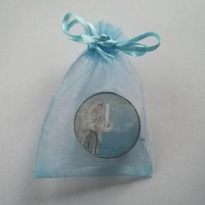 Blauw zakje met maria waxinelichtje bedankje